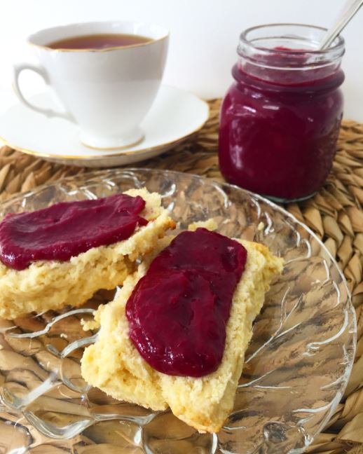 Berry curd with scones